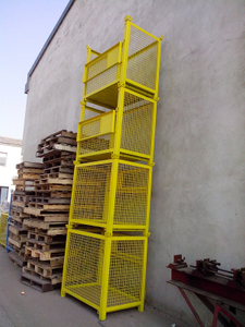 Yellow Panited Scaffold Rack with Mesh / Steel Cage